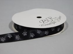 Black  with Silver Paw Print  Satin or Grosgrain ribbon 2, 20 25 metres Double sided 16mm 15mm
